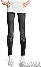 Review Musim Semi Dan Musim Gugur Pakaian Luar Bagian Tipis Elastis Ms Celana Legging Denim Hitam Bagian Lipatan Di Tiongkok