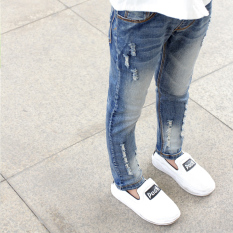 Jeans Musim Semi dan Musim Panas Anak-anak Celana Pensil Wanita Musim Semi dan Musim Gugur (Light Blue)