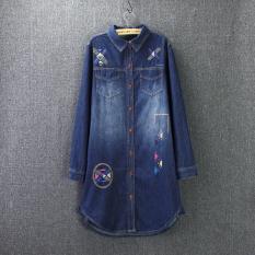 Harga Versi Korea Dari Musim Semi Dan Gugur Retro Bordir Longgar Lengan Panjang Kemeja Denim Biru Biru Baju Wanita Baju Atasan Kemeja Wanita Terbaik