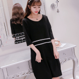 Beli Musim Semi Dan Musim Panas Baru Pakaian Wanita Ukuran Besar Korea Fashion Style Lengan Sedang Gaun Hitam Tiongkok