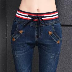 Harga Jeans Musim Semi Dan Musim Panas Celana Panjang Wanita Pensil 1668 Biru Tua Tiongkok