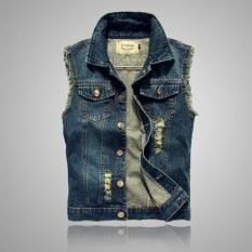 Harga Rompi Jeans Pria Tidak Berlengan Membentuk Tubuh Versi Korea Biru Tua Branded