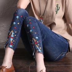 Jual Celana Pensil Jeans Wanita Sepersembilan Berbordir Versi Korea Biru Tua Branded Original