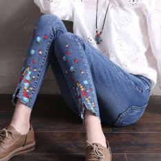 Jual Celana Pensil Jeans Wanita Sepersembilan Berbordir Versi Korea Cahaya Biru Online Di Tiongkok