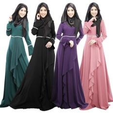 Muslim Abaya Islam Pakaian untuk Wanita Gaun Panjang Fashion Busana Muslim Chiffon Soft Abaya Gaun-Intl