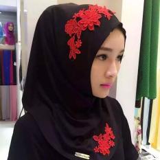 Muslim Syal Kepala Malaysia Crystal Head Set Hui Hui Nyaman Jilbab Warna-Intl