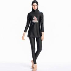 Muslim Jilbab Swimsuit Islam Gaya Panjang Penuh Swimwear Beachwear Burkini-Intl