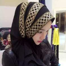 Toko Muslim Hijiabs Pearl Chiffon Sprinkle Gold Long Article Long Towel 003 Intl Lengkap Tiongkok