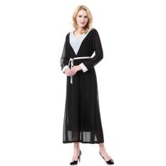 Muslim Islam Wanita Kaftan Dubai Lengan Panjang Jala Maxi Evening Panjang (Hitam)-Intl
