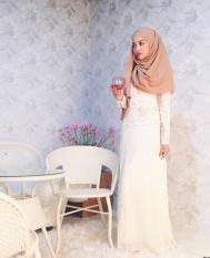 Muslim Panjang Handuk Melayu Mudah Turban Musim Panas, Solid Color Pearl Chiffon Slim Stylish Huizu Cover Head Scarf, Unta Panjang Pesta-Intl