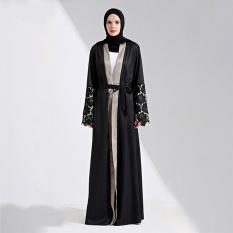 Muslim Maxi Dress Terbuka Abaya Renda Jilbab Belt Jubah Panjang Gaun Cardigan Ramadan Kimono Thobe Pakaian Islami Pakaian-Intl