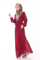 Muslim Jubah Arab Hui Kebangsaan Wanita Chiffon Wanita Ukuran Besar Gaun Lengan Panjang-Intl