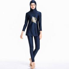 Muslim Swimwear untuk Wanita Wanita Sederhana Jilbab Swimsuit Islam Kostum Renang Burkini-Intl