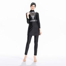 Muslim Swimwear Swimsuit Islami untuk Wanita Jilbab Full Cakupan Muslim Swimwear Beachwear Swim Suit-Intl