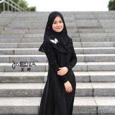 Muslim Sorban Bergaya Melayu Mudah Butterfly Warna Murni, Baru Pearl Chiffon Huizu Cover Kepala, Hitam-Intl