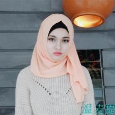 Muslim Sorban Bergaya Masker Dalam Bahasa Melayu) Pearl Chiffon Pure Color Long Handuk Huizu Islam Menutupi Kepala, 2 Klip-Intl