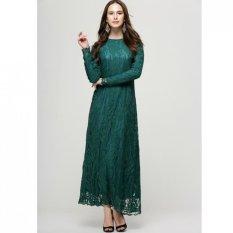 Pakaian Muslim Wanita Baju Kurung Lengan Panjang Renda Gaun L16017 Dark Green