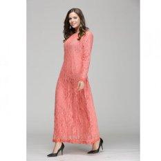Pakaian Muslim Wanita Baju Kurung Lengan Panjang Renda Gaun L16017 Pink