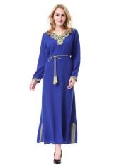 Wanita Muslim Long Skirt Arab Timur Tengah Wanita Jubah Malaysia Baju Kurung Dubai Saudi Wanita Gadis Musim Panas-Biru -Intl