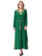 Wanita Muslim Long Skirt Arab Timur Tengah Wanita Jubah Malaysia Baju Kurung Dubai Saudi Wanita Dress-Hijau -Intl
