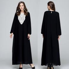 Wanita Muslim Lengan Panjang Arab Gaun Pakaian Arab Jubah Kaftan Malaysia Fashion Bordir Musim Semi Plus Ukuran Dclothes-Hitam- INTL