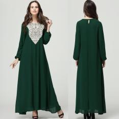 Wanita Muslim Lengan Panjang Arab Gaun Pakaian Arab Jubah Kaftan Malaysia Fashion Bordir Musim Semi Plus Ukuran Dclothes-Hijau- INTL