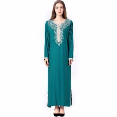 Wanita Muslim Lengan Panjang Jilbab Dress Maxi Abaya Jalabiya Islam Wanita Gaun Jubah Kaftan Maroko Fashion Embroidey1631-Intl