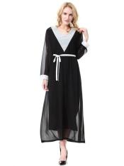 Wanita Muslim Lengan Panjang Jubah Dubai Saudi Wanita Jubah Malaysia Baju Kurung Gaun Wanita Arab Timur Tengah Ladies Fashion Long Skirt-Hitam (XL) -Intl