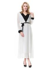 Wanita Muslim Lengan Panjang Jubah Dubai Saudi Wanita Jubah Malaysia Baju Kurung Gaun Wanita Arab Timur Tengah Ladies Fashion Long Skirt-Putih (XL) -Intl