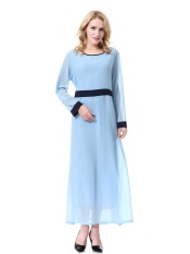 Muslim Wanita Jubah Chiffon Dress Malaysia Baju Kurung Dubai Saudi Arab Wanita Jubah Pakaian-Biru-Intl