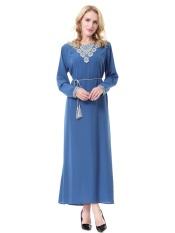 Muslim Wanita Jubah Gaun Panjang Malaysia Baju Kurung Dubai Saudi Wanita Pakaian Wanita Arab Dress-Biru-Intl