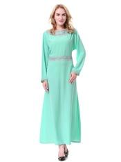 Muslim Wanita Dress Dubai Saudi Wanita Jubah Malaysia Gaun Wanita Arab Timur Tengah Ladies Fashion Rok Panjang- Light Green (L) -Intl