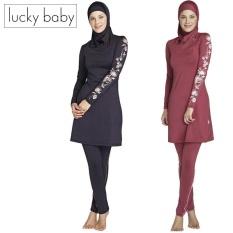 Muslimah Islam Swimsuit Berenang Surf Wear Sport Pakaian Wanita Plus Ukuran Muslim Swimwear Beach Baju Renang 3 Pcs/set Dark Blue HITAM Merah-Intl