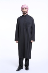 Muslimin Jubah Malaysia Pria Muslim Pria Wear Men Jubahs Pria Panjang Lengan Kemeja Pria (Hitam) -Intl