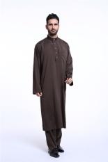 Muslimin Jubah Malaysia Pria Muslim Pria Wear Men Jubahs Pria Panjang Lengan Kemeja Pria (Kopi) -Intl