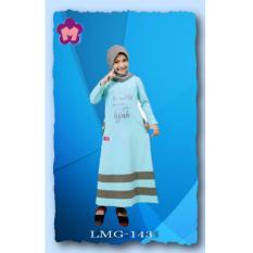 Mutif LMG-143Dress Wanita Baju Muslim Modern Gamis Katun Combed Kaos Tosca Muda - Abu Sedang