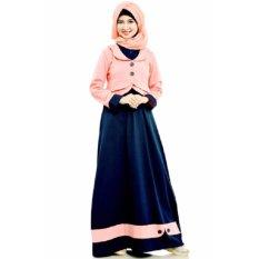 Mutif M-100 Dress Wanita Baju Muslim Modern Gamis Katun Combed Kaos Pink