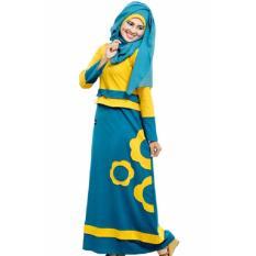 Mutif M-102 Dress Wanita Baju Muslim Modern Gamis Katun Combed Kaos Kuning Kunyit