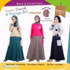 Mutif M-111 Dress Wanita Baju Muslim Modern Gamis Katun Combed Kaos Hijau Denim