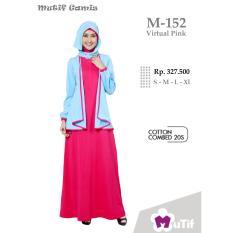 Mutif M-152 Dress Wanita Baju Muslim Modern Gamis Katun Combed Kaos Virtual Pink