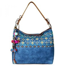 MW577-916 Montana West Embroidered Collection Hobo Handbag, Navy