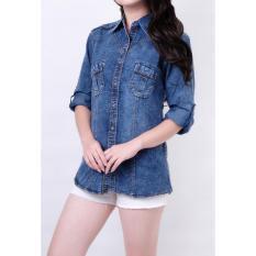Harga My Straw Kemeja Jeans Sarah Blue Baru Murah