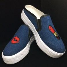 Jual Cepat Myers Flat Shoes Fashion Sepatu Wanita Casual Lipstick Slip On Shoes Park Blue 1516 11