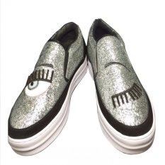 Spesifikasi Myers Flat Shoes Fashion Sepatu Wanita Casual One Eye Blink Slip On Shoes Silver 1529 1 Paling Bagus