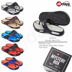 [BUY 1 GET 1] Porto Sandal Jepit Karet Kasual Pria Murah 605 - Random Colour Size 39/44
