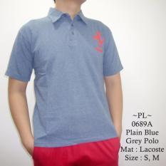 MZ Kaos Polo Pria Model Terbaru Keren FRR Logo Plain Blue Grey Polo - 689a