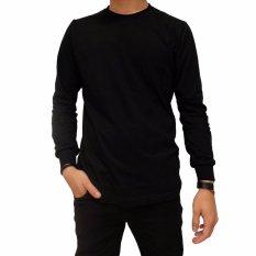 Naga Clothing - Kaos Polos Lengan Panjang ONeck Full Cotton Combed Reaktif [ Hitam ]