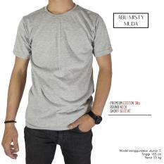 Naga Clothing - Kaos Polos Lengan Pendek ONeck Full Cotton Combed Reakti -Abu Misty Muda
