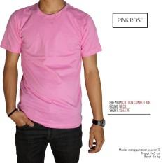 Naga Clothing - Kaos Polos Lengan Pendek ONeck Full Cotton Combed Reakti -Pink