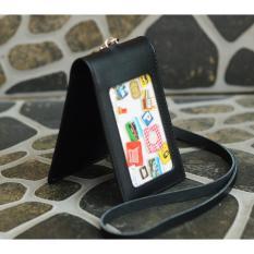 Promo Name Tag Id Card Holder Double Magnet Tali Kulit Hitam Murah